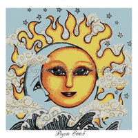 CELESTIAL SuN,MooN,and WAvEs Peyote -Bead Pattern,Tapestry,Wall Hanging, Home Decor