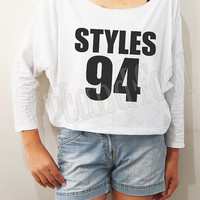 Harry Styles 94 Shirt Harry Styles Shirt One Direction Shirt Bat Sleeve Shirts Crop Long Sleeve Oversized Sweatshirt Women Shirts -FREE SIZE