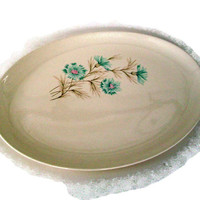 Mid Century, Taylor Smith Taylor, Vintage Platter, Ever Yours Boutonniere, Cottage Chic, Blue Pink Tan and White