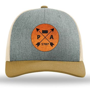 Pennsylvania State Arrows - Leather Patch Trucker Hat