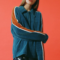 UO Juno Velour Half-Zip Sweater | Urban Outfitters