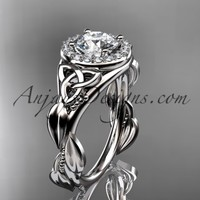 """platinum diamond celtic trinity knot wedding ring, engagement ring with a """"Forever Brilliant"""" Moissanite center stone CT7327"""