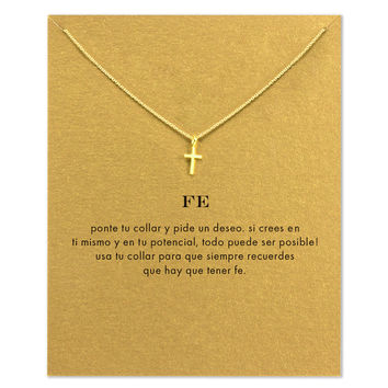 18k Gold Dipped Cross Dainty Necklace