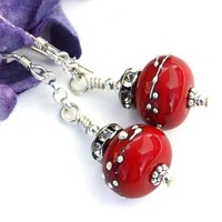 Cherry Bomb Red Christmas Earrings, Lampwork Crystal Holiday Artisan Dangle Jewelry