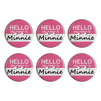 Minnie Hello My Name Is Plastic Resin Button Set of 6