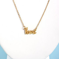 Love is All Around Gold Love Necklace