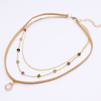 Stone Drop Layered Natural Leather Necklace