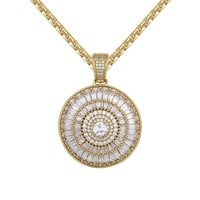Silver baguette 3D Medallion Solitaire Spinner Pendant Free Chain