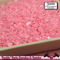 300 pcs 3mm Pastel SOFT PINK Decoden Faceted Flatback Candy Rhinestones