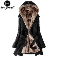 Warm Long Coat 2017 Fashion Faux Fur Lining Women's Hoodies Ladies Winter Jacket Jaqueta Feminina WWM056