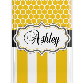 HONEYCOMB AND STRIPES - PRETTY WOMEN'S MONOGRAM IPHONE CASE