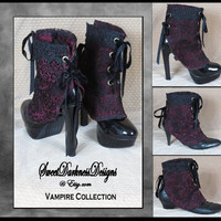 Gothic Spats Victorian Spats Steampunk Spats Vampire Clothing Laceup Shoecover Vintage Spat Burgundy Gothic Clothing by SweetDarknessDesigns