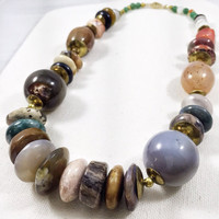 Vintage grey and brown gemstone necklace, chunky stone necklace, brown and green necklace, earth tone natural stone jewelry