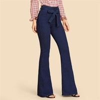 Navy Tie Waist Flare Jeans Woman Denim Trousers Vintage Women Clothes High Waist Pants Belted Stretchy Jeans