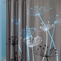 Dandelion Pattern 3D Waterproof Polyester Shower Curtain with 12 Plastic Hooks