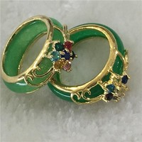 2PCS Hand Carvings Green Jade Ring