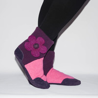 Women Slipper Socks, Women Cashmere Winter Boots from Reclaimed Cashmere and Suede Leather. Adults 6.5 -16. Puppy Love
