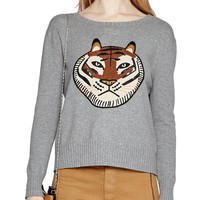 Tiger Embroidered Sweater | Lord & Taylor