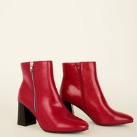 Wide Fit Red Pointed Flared Heel Boots   New Look