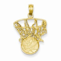14k Yellow Gold Swoosh Basketball Net Pendant