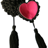 Black Cordate Rose Bunch with Tassel Pasties