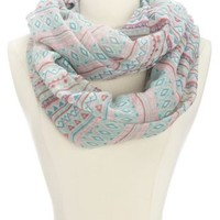 Tribal Striped Infinity Scarf by Charlotte Russe - Pale Mint Combo