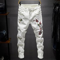 Embroidery elastic Jeans Hole Straight Destroyed Jeans Casual Slim Ripped Jeans Printed Men Trousers Denim Black White Blue
