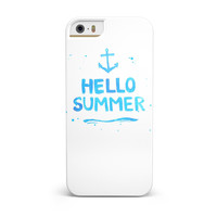 Hello Summer Blue Watercolor Anchor V1 iPhone 5/5S/SE INK-Fuzed Case