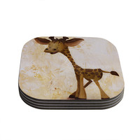 "Rachel Kokko ""Georgey The Giraffe"" Brown Tan Coasters (Set of 4)"