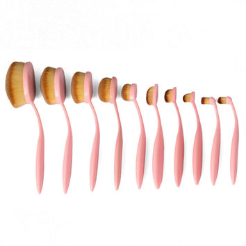 Pink Professional 10 PC Makeup Soft Oval Foundation Contour Cream Brush Set