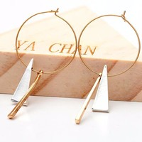 Gold Geometric Bar Triangle Hoop Earrings