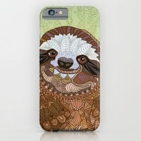 Smiling Sloth iPhone & iPod Case by ArtLovePassion