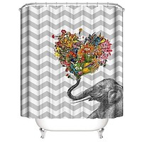 """""""Chevron"""" Elephant Shower Curtain Is Awesome!"""