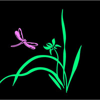 Dragonfly Flower Decal Dragonfly Lily Decal Dragonfly Decal Custom Vinyl Computer Laptop Car decal window decal mailbox decal custom Decal