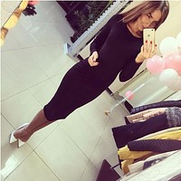 2018 Fall Women's Shoulders Office Dresses Solid Tight Short Sleeve Knee Length Pack Buttocks Dress Feamle Vestidos