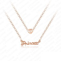 Heart Necklace New Fashion Hot Sale Princess English Letter Love Heart Gold /Rose Gold color  Necklace