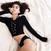Strong Character Crop Top Long Sleeve Tops [9521386564]
