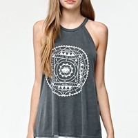 Billabong Sundial Goddess Neck Racerback Tank Top - Womens Tee - Black