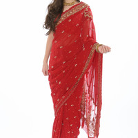 Gorgeous Cherry Red Sari