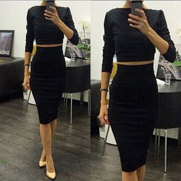 New Black Sexy Women Summer 2 piece Set Clubwear Office Party Bodycon Bandage Dress = 1956696324