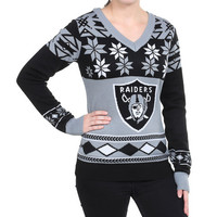 """Oakland Raiders Women's Official NFL """"Big Logo"""" V-Neck Sweater by Klew"""