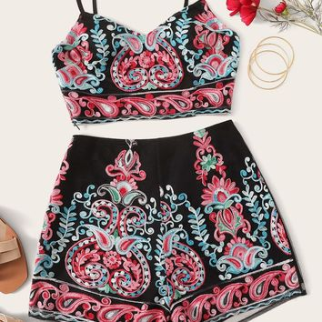 Embroidered Crop Cami Top and Shorts Set