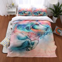 Unicorn Bedding Sets Queen King Size Quilt Cover Colorful Duvet Cover Set Bed Linen Bedclothes