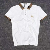 BURBERRY Popular Men Women Casual Short Sleeve Lapel T-Shirt Top White