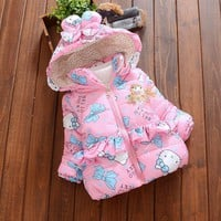 Baby Winter Jacket for Girl Winter Coat 7-24M Hello Kitty Cotton Padded Down Parkas Hooded Kids Windbreaker Thick Warm Outerwear