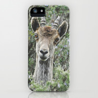 """Hello"". Ibex. Retro wildlife. iPhone & iPod Case by Guido Montañés"