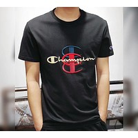 Champion Tide Brand Fashion Limited Couples Chest Brand Logo Embroidery Short Sleeve F-CY-MN black