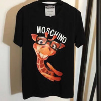 MOSCHINO 2018 New Giraffe Tooth Laughing Print Couple Short Sleeve T-Shirt F-ZYHFS Black