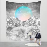 Put Your Thoughts To Sleep (Peaceful Moon / Wolf Spirit) Wall Tapestry by Soaring Anchor Designs