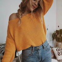 Yellow V-neck One-Shoulder Lantern Sleeve Casual Oversized Slouchy Pullover Sweater